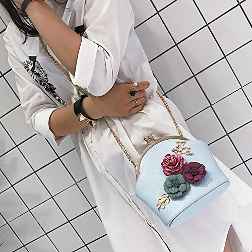 Shoulder Handbag Blue Small TLoowy Wallets Clutch Purse Bag Women Retro Crossbody Chain Flower Strap zqwBrOYwt