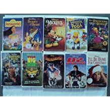Disney & More 10 Pack VHS Movies, Walt Disney: Pocahontas - Masterpiece, Beauty and the Beast Classics, Mickey's Once Upon a Christmas, Winnie the Pooh- Sing a song with Pooh, Princess the Goblin (Not Disney Title), Homeward Bound 2, The big Green, A kid in King Arthur's Court, The Mighty Ducks D@, I'll be home for Christmas.