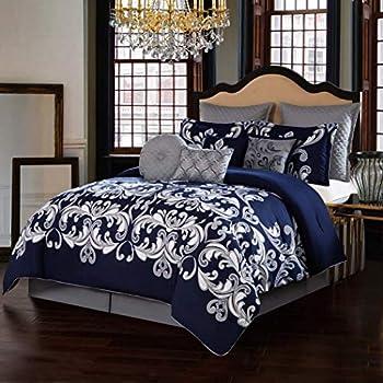 Amazon.com: 10pc Blue Silver White Damask Theme Comforter ...