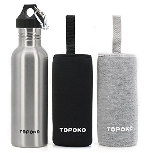 TOPOKO 25 Oz Single Wall Uninsulated Steel Water Bottle Stainless Steel Water Bottle Sports Bottle Flip Top Spout with Nylon Sleeve (Sport Lid-Black+Grey) Black Flip Top Lids