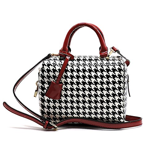 Elphis Houndstooth Glossy Box Satchel Crossbody Bag Purse (H049) (Red) (Box Purse)