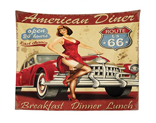 (Lunarable Route 66 Tapestry, American Diner Advertisement Poster with Sexy Girl and Automobile Nostalgic Art, Fabric Wall Hanging Decor for Bedroom Living Room Dorm, 28 W X 23 L inches, Mustard Red)