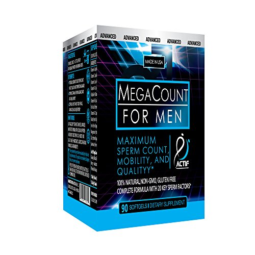 Actif MegaCount for Men - Maximum Fertility Support, Clinically Proven to Improve Sperm Count and Motility - Non-GMO, Made in USA, 90 Count