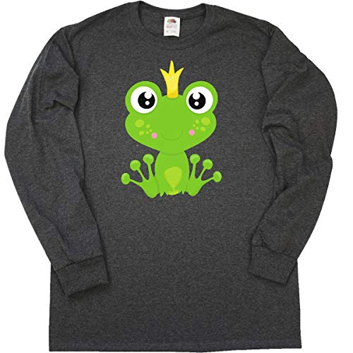 inktastic - Frog Prince, Long Sleeve T-Shirt Small Retro Heather Black ()