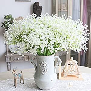 6pcs Artificial Gypsophila Flowers, gloednApple Silk Babybreath Flower Bouquet Plant Garland Party Wedding Home Decor 74