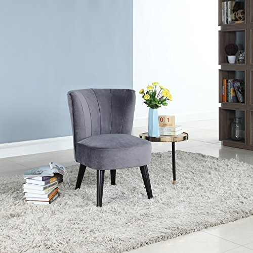 Divano Roma Furniture Classic and Traditional Living Room Velvet Fabric Accent Chair (Grey)