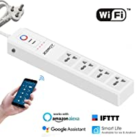 XERGY Smart Power Strip, Wi-Fi Surge Protector, Compatible with Echo Alexa, Google Assistant & IFTTT, Remote Control Individually, with 4 Smart AC Outlets and 2 USB Ports