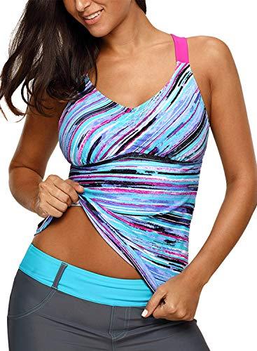 - Aleumdr Womens V Neck Printed Strappy Racerback Summer Padded Tankini Swim Top No Bottom Swimwear Small Size Blue