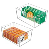 mDesign Plastic Storage Bin with Handles for
