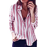 Striped Top for Women Casual Button T-shirt Ladies Loose Long Sleeve Work Blouse