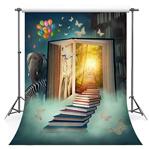 F-FUN SOUL Fairy Tale Backdrop Cotton Cloth Bookshelf Elephant Butterfly Photography Backgrounds Children Birthday Party Photo Video Studio Props Room Decoration 5x7ft - Cotton Tale Elephant