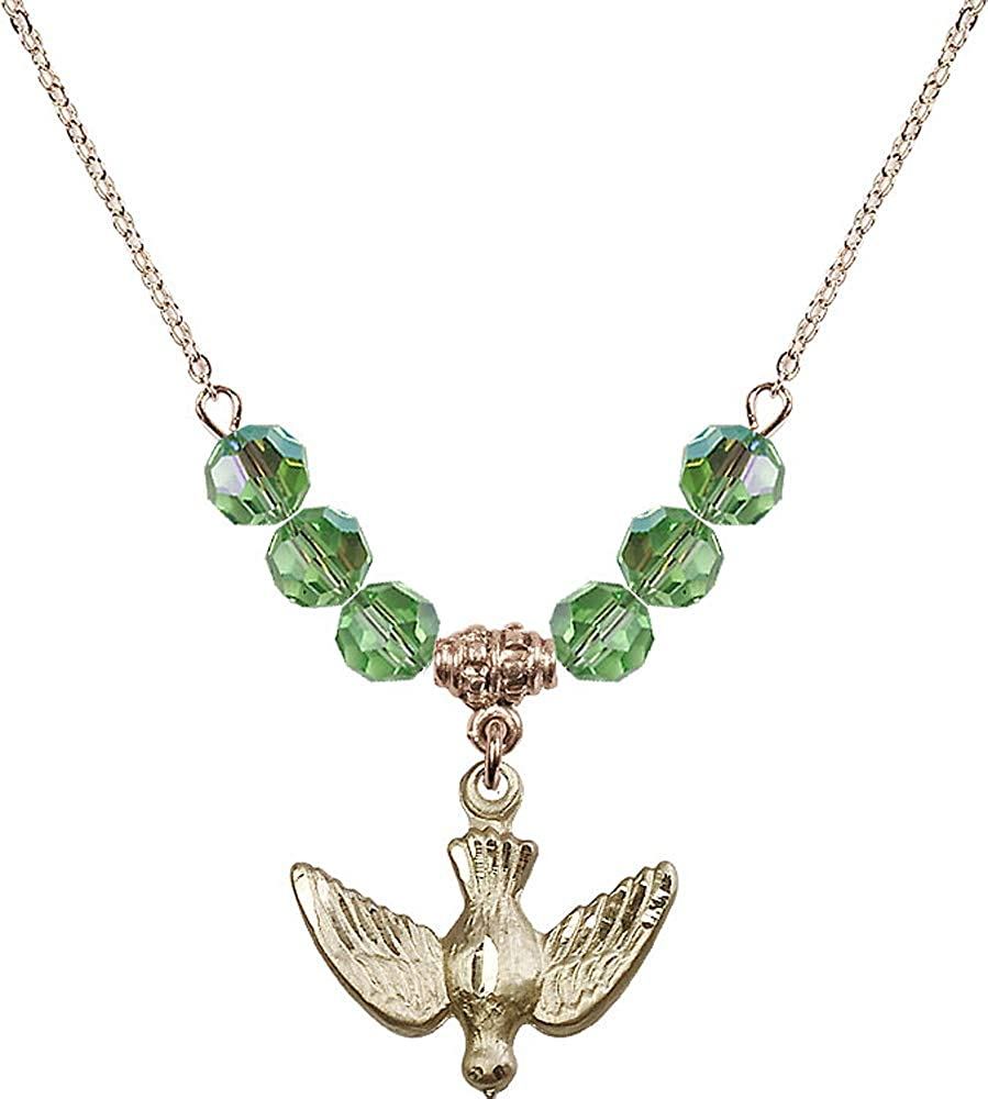 Green Peridot August Birthstone 18-Inch Hamilton Gold Plated Necklace with 6mm Peridot Birthstone Beads and Holy Spirit Charm