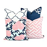 Hofdeco Decorative Throw Pillow Cover Indoor Outdoor Water Resistant Canvas Spring Navy Pink Greek Key Quatrefoil Maze Chinoiserie Floral 18''x18'' 20''x20'' Set of 4