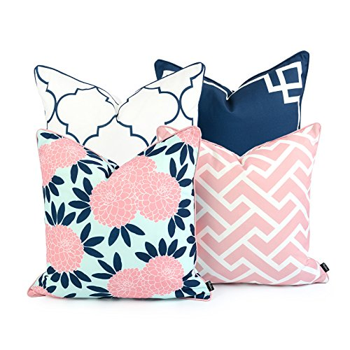 Hofdeco Decorative Throw Pillow Cover Indoor Outdoor Water Resistant Canvas Spring Navy Pink Greek Key Quatrefoil Maze Chinoiserie Floral 18x18 20x20 Set of 4