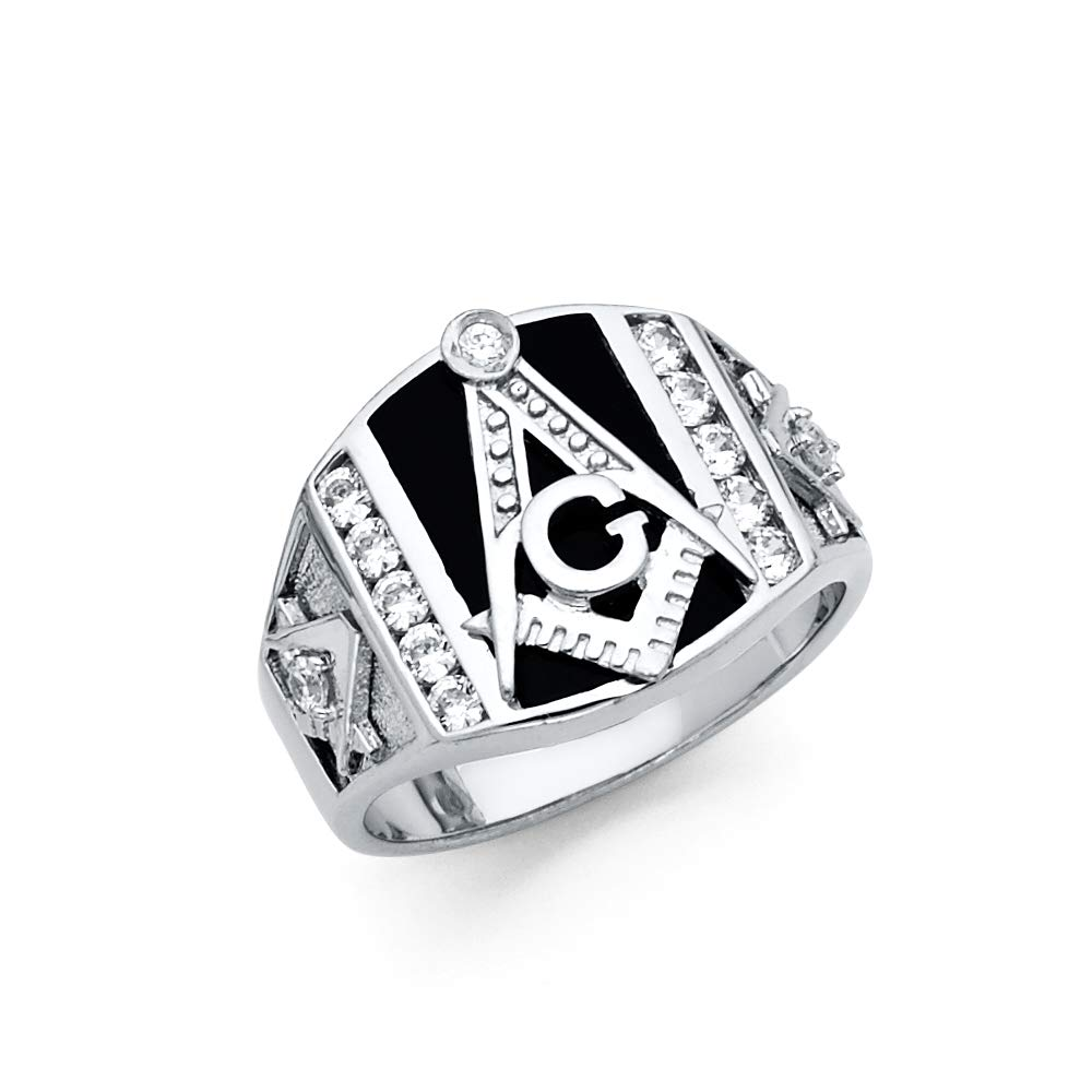 Wellingsale Mens 925 Sterling Silver Polished Rhodium CZ Cubic Zirconia Embossed Masonic Ring