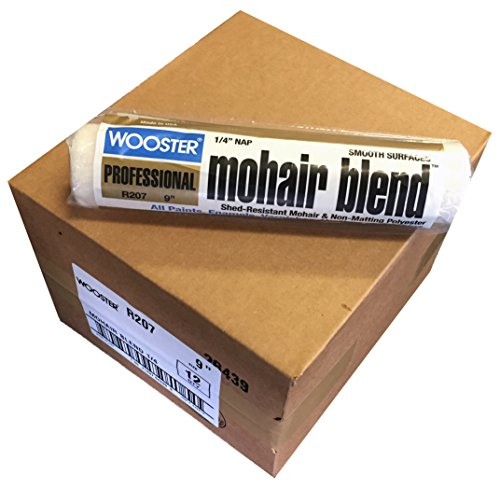 Wooster Brush R207-9 Mohair Blend Roller Cover 1/4-Inch Nap, Pack of 12 ()
