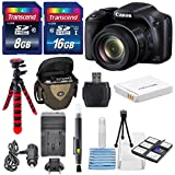 Canon PowerShot SX530 HS - Wi-Fi Enabled Digital Camera with deluxe accessory bundle including 24GB SDHC memory card lens cleaning kit + Extra Battery & AC/DC Turbo Travel Charger.