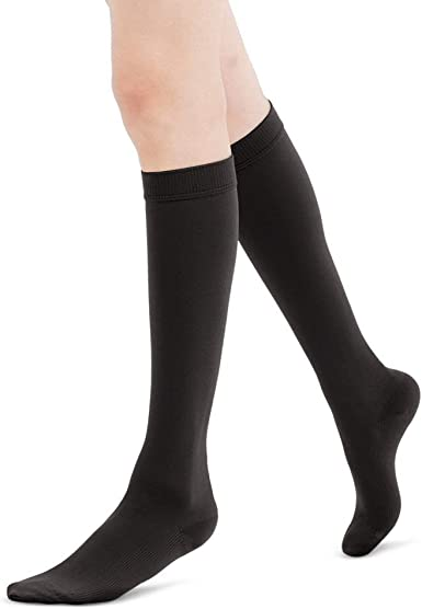 Fytto 1020 Women S Compression Socks Opaque 15 20mmhg Hosiery Flight Stockings Smooth Knit Professional Support For Business Travel Small Black V Line Amazon Co Uk Clothing
