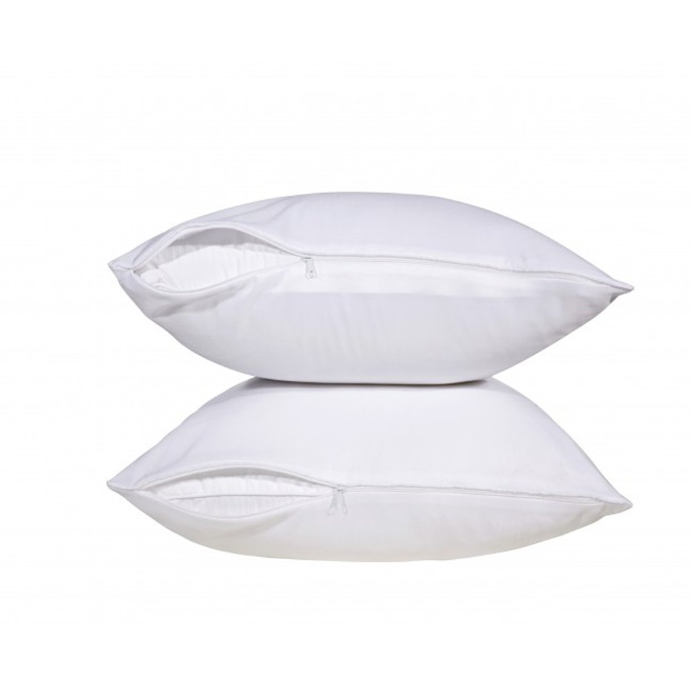 Pillow Protector - 2 Pack Hypoallergenic Poly-Cotton Blend Ultra Soft Light Weight Water and Dust Resistant Solid White Zippered Protector For Pillows by Pacific Linens (Queen Size) COMIN18JU048195