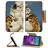 Samsung Galaxy Note 4 Flip Pu Leather Wallet Case praying little angel figure with golden wings isolated on sky IMAGE 37104271 by MSD Customized Premium