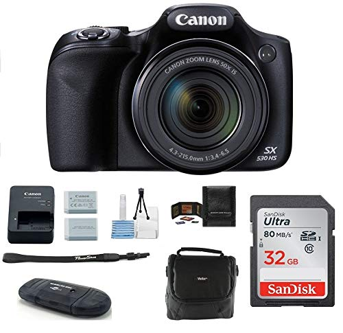 - Canon Powershot SX530 HS 16.0 MP Digital Camera with 50x Optical Zoom and 1080p Full HD Video Bundle Kit; Includes: NB-6L Battery, 32GB SDHC High Speed Memory Card, Small Camera Bag, Mini Tripod, Card Reader, Lens Cleaning Kit, Memory Card Wallet and Mini HDMI Cable