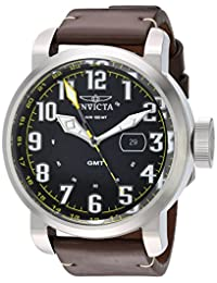 Invicta Men's 'Aviator' Quartz Stainless Steel and Leather Casual Watch, Color:Black (Model: 22250)