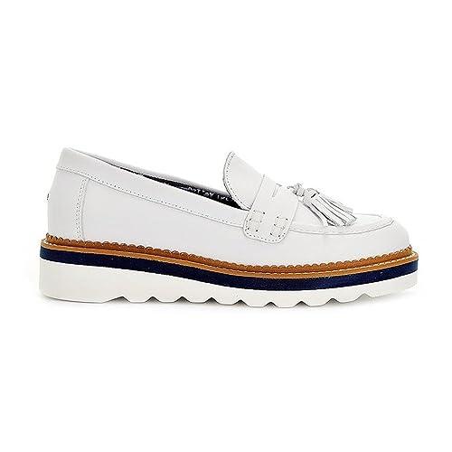 Tommy Hilfiger - Mocasines de Cuero para Mujer, Color Blanco, Talla 39 1/3: Amazon.es: Zapatos y complementos