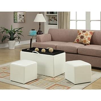 Designs4Comfort piel sintética banco de almacenamiento con 2 ...