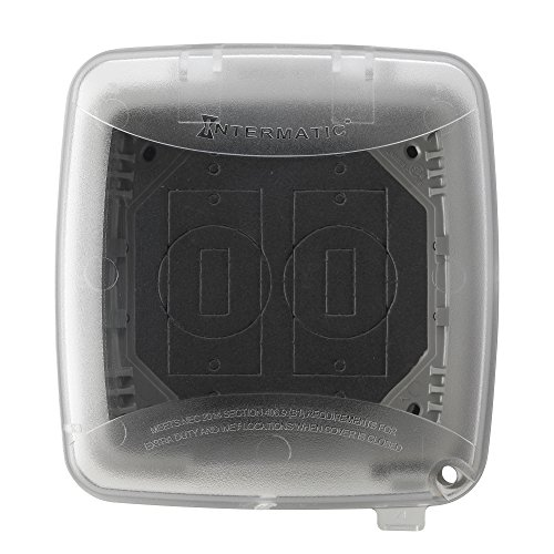 Intermatic WP5500C Extra Duty Plastic Weatherproof Cover, 4.75-Inch Double Gang, Clear/Gray by Intermatic
