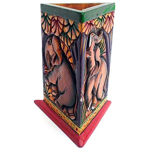 JAIPURCRAFT Beautiful Hand Curved and Hand Painted Triangle Shape Wooden Pen Holder, Elephant in Jungle Theme Engraved Pen Holder