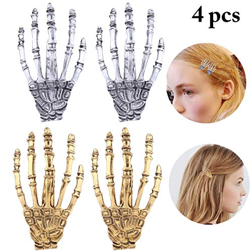 Fascigirl Halloween Hair Clip Novelty Skeleton Hand Bone Hair Pin Hair Alligator -