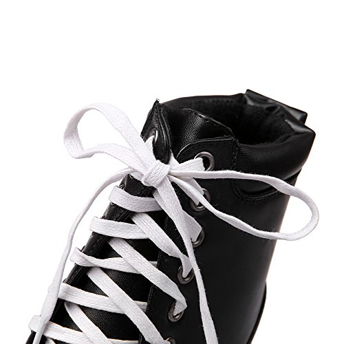 PU High Solid top WeenFashion Lace Heels Low Boots Black up Women's 4pqnTw5