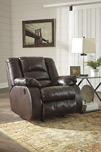 Levelland Contemporary Cafe Color Leather Power Rocker Recliner