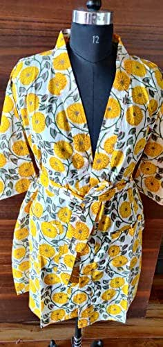 Cotton Kimono Indian Robes Women Wear Body Crossover Bridesmaid Dressing Gown Hand Patch Work Block Print Cotton Bathrobe Dressing Gown