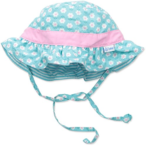 i play. Baby Girls' Reversible Ruffle Bucket Sun Protection Hat, Aqua, 0-6 Months Aqua Bucket Hat