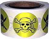 Pirate Stickers Skull and Crossbones Swords Metallic Gold Round Circle Dots 3/4 Inch 100 Total Labels