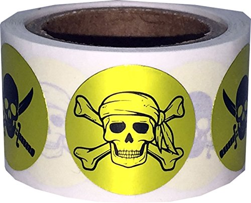 Party Supplies Salt Lake City Utah (Pirate Stickers Skull and Crossbones Swords Metallic Gold Round Circle Dots 3/4 Inch 100 Total Labels)