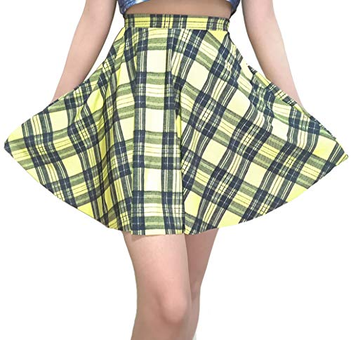 Sister Amy Women's Pleated Elastic Waist Band Flared Printed Midi Skater Yellow Plaids US S]()