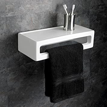 Etonnant Avelino Ceramic Rectangular Bathroom Shelf And Towel Rail