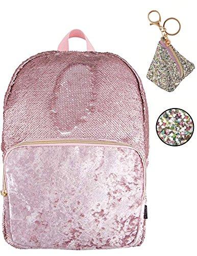 Style.Lab Magic Sequin Glitter Sequin Velvet Crush Backpack + Chunky Glitter Bag Charm! -