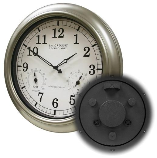Large atomic wall clock accurate thermometer humidity for Garden treasures pool clock