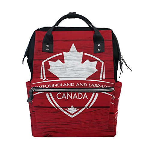 Newfoundland & Labrador Province Canada Maple Leaf Flag Mommy Bag Mother Bag Travel Backpack Diaper Bag Daypack Nappy Bags for Baby Care Large Capacity -