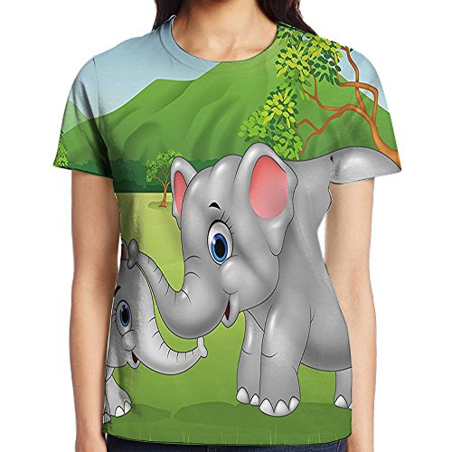 WuLion Cartoon Theme Cute Mother Elephant and Calf in The Jungle Women's 3D Print T Shirt XXL White ()