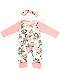Newborn Baby Girl Clothes Floral Long Sleeve Footless Romper Jumpsuit Cotton Pink