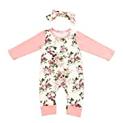 Wo kili Newborn Baby Girls Pink Floral Print Long Sleeve Bodysuit Romper Jumpsuit Playsuit Outfit Clothes Set(3-6 Months)