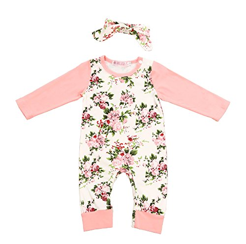 (Newborn Baby Girl Clothes Floral Long Sleeve Footless Romper Jumpsuit Cotton 3-6 Month Pink)