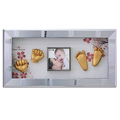 MomsPresent Baby Hands and Feet Casting Print Deluxe KIT with Silver Frame (Gold)