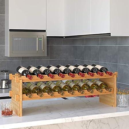 Estante Para Vino De Pie, Estante Para Vino, Estante De Exhibición De Vino De Bambú De 4 Niveles Y 36 Botellas, Estante Para Vino De Encimera Para El Hogar, Sala De Estar, Barra De Cocina, 85X24x57cm
