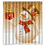 Snowman Shower Curtain Standard-Store Custom the Santa Claus and Snowman Waterproof Polyester Shower Curtain, 60 x 72 Inch