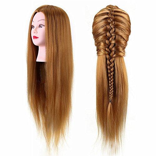 Cabezas de entrenamiento, 40% cabello humano real Cabezal de peluquería Entrenamiento de práctica Corte de estilo de cabeza...